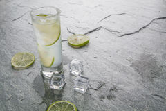 Classic margarita drink with lime and salt Royalty Free Stock Images