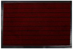 Classic maroon black Striped welcome door mat with black border. In White Background royalty free stock image