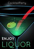 Classic martini cocktail with olive and red straw close up. Neon cocktail with light glowing on black background. Design for cocktail menu, cocktail party, bar stock illustration