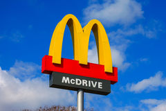 Classic McDonald's sign with blue sky Royalty Free Stock Photos
