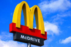 Classic McDonald's sign with blue sky Stock Photo