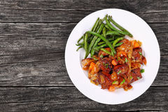 Classic meat stew on white plate Royalty Free Stock Photos
