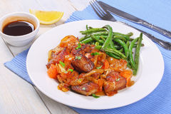Classic meat stew on white plate Stock Images