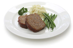 Classic meatloaf. American food on white background Stock Photo