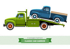 Classic medium duty car hauler truck side view Stock Photos