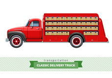 Classic medium duty delivery truck side view. Vector  illustration Royalty Free Stock Photos