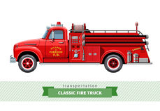 Classic medium duty fire truck side view. Vector  illustration Stock Photography