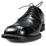 Classic men black club shoe isolated closeup Stock Image