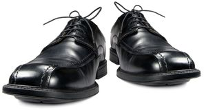 Classic men black club shoe isolated closeup Royalty Free Stock Image