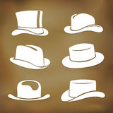 Classic men hat silhouettes Stock Photography