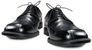 Classic men's black club shoe pair, isolated wide angle formal shoes macro closeup Stock Photo