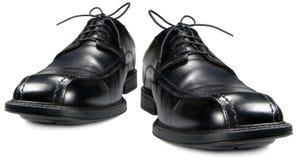 Classic men's black club shoe pair, isolated wide angle formal shoes macro closeup. Classic men's black club shoe pair isolated wide angle formal shoes macro stock photo