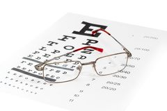 Classic men`s eyeglasses on a visual acuity check chart Royalty Free Stock Photography