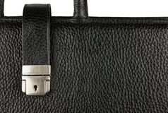 Classic mens briefcase with a lock and handle Stock Photos
