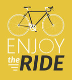 Classic mens town, road bike with enjoy the ride title, detailed vector illustration for card, t-shirt, etc. Stock Images