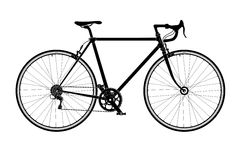 Classic mens town, road bike silhouette, detailed vector illustration Stock Photos