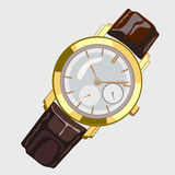 Classic mens watch with brown strap and gold dial Stock Images