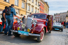 Classic Mercedes on the rally of vintage cars in Krakow, Poland Stock Image