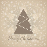Classic Merry Christmas greeting card. Brown xmas tree symbol with stars and snowflakes vector. Classic Merry Christmas greeting card. Holiday tree symbol with Royalty Free Stock Image