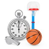Classic Metal Coaches Whistle with Basketball Ball and Children. Toy Basketball Ring near Chrome Stopwatch on a white background. 3d Rendering royalty free stock image
