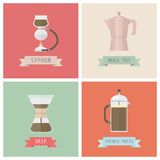 Classic methods. Unplug coffee methods, syphon, moka pot, drip, french press, pastel style Stock Photography