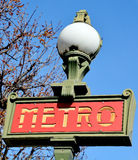 Classic Metro entrance sign Royalty Free Stock Photos