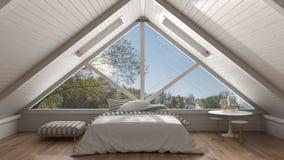 Classic mezzanine loft with big panoramic window, bedroom, summe. R or spring garden meadow, minimalist scandinavian interior design Stock Photos