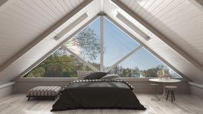 Classic mezzanine loft with big panoramic window, bedroom, summe. R or spring garden meadow, minimalist scandinavian interior design Stock Images