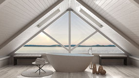 Classic mezzanine loft with big window and sea panorama, bathroo. M, summer sunset or sunrise, minimalist scandinavian interior design Royalty Free Stock Photography