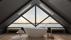 Classic mezzanine loft with big window and sea panorama, bathroo. M, summer sunset or sunrise, minimalist scandinavian interior design Royalty Free Stock Image