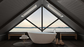 Classic mezzanine loft with big window and sea panorama, bathroo. M, summer sunset or sunrise, minimalist scandinavian interior design Stock Photos