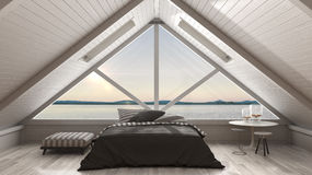 Classic mezzanine loft with big window and sea panorama, bedroom Stock Images
