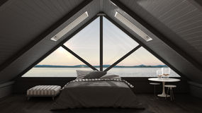 Classic mezzanine loft with big window and sea panorama, bedroom Stock Image
