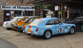 Classic MG Cars. Houghton, Cambridgeshire, England - September 28, 2014: Classic MG Sports Cars on garage forecourt Stock Image