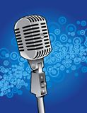 Classic microphone. Vector illustration of a classic microphone on blue background Stock Images