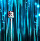 Classic Microphone Colorful Curtains Royalty Free Stock Photo
