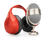 Classic microphone and headphones Stock Photography
