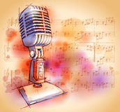 Classic Microphone & notes Stock Images