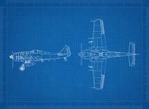 Classic Military plane blueprint Vector Illustration