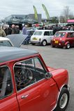 Classic mini cars at the 2017 Brooklands mini day event. Stock Photos