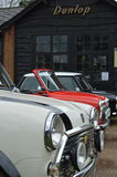 Classic mini cars at the 2017 Brooklands mini day event. Royalty Free Stock Photo