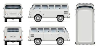 Classic mini van vector mockup. Retro minivan vector mockup on white background. Isolated passenger van view from side, front, back, top. All elements in the stock illustration