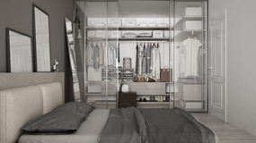 Classic minimal bedroom with walk-in closet. Interior design stock photography