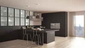 classic minimal gray kitchen with parquet floor, modern interior