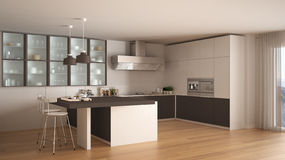 classic minimal white and brown kitchen with parquet floor, mode
