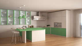 Classic minimal white and green kitchen with parquet floor, mode Royalty Free Stock Photos