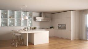 classic minimal white kitchen with parquet floor, modern interio