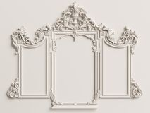 Classic mirror frame on the white wall royalty free stock images