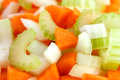 Classic mix of carrots, celery and onion all chopped up. And ready to be used stock photography