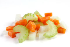 Classic mix of carrots, celery and onion all chopped up Stock Image